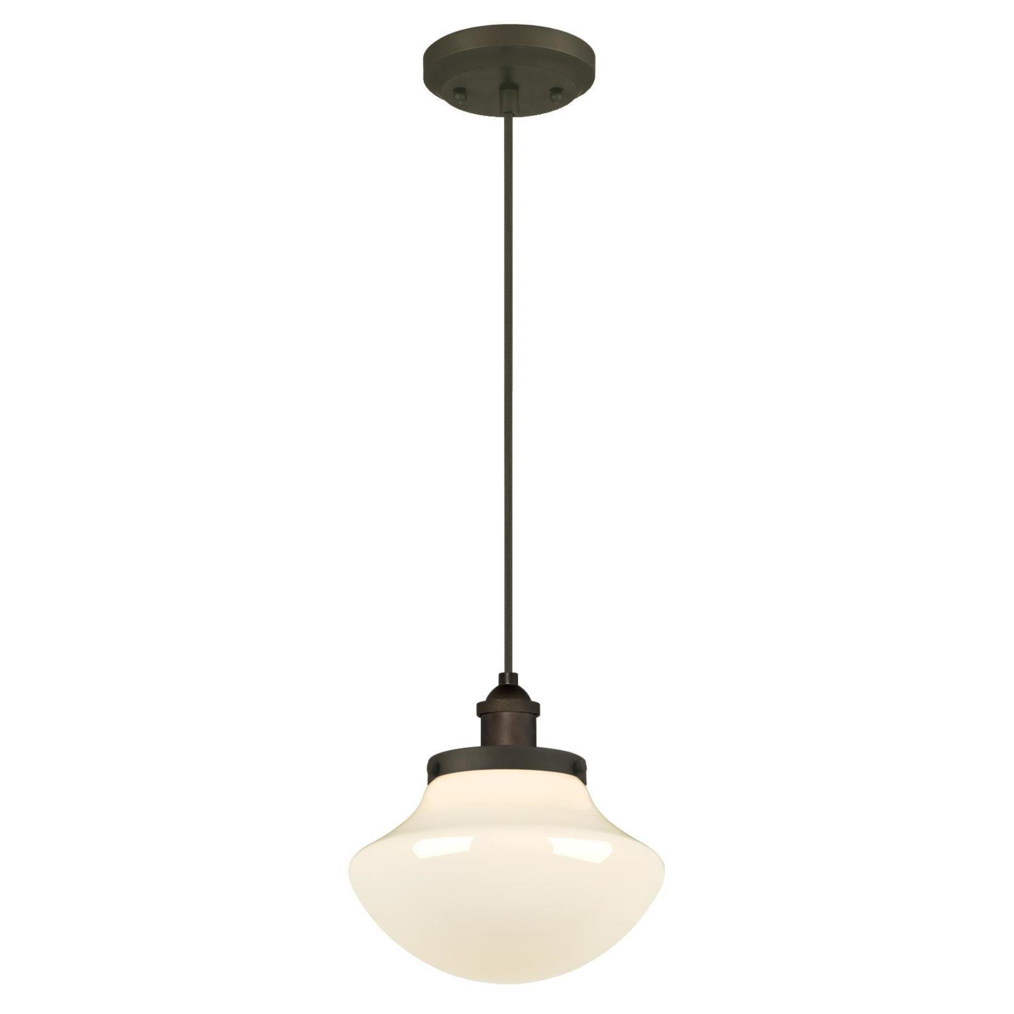 Westinghouse 6346200 One-Light Mini Pendant with White Opal Glass, Oil Rubbed Bronze
