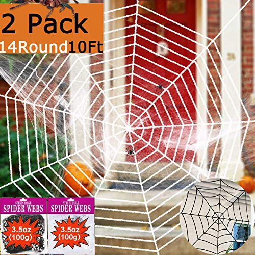 2 Pack Outdoor Halloween Decorations Giant Spider Web 10Ft 14 Round Large Spider Webs Props,Super Stretch Cobweb Set Decor Indoor Party Supplies Favors Haunted House Window Door Walls Yard Black White