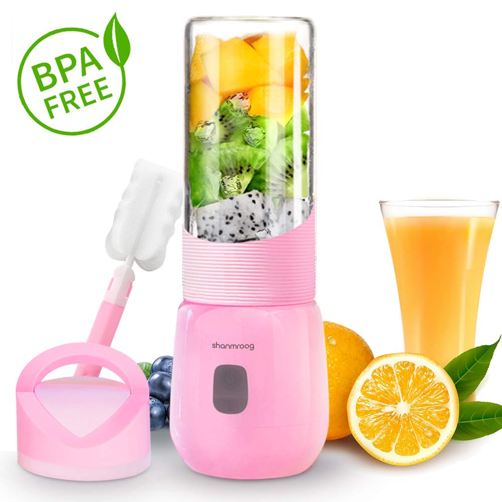 【2019 Newest】Portable Blender,Multi-functional Small Blender,15000RPM Electric mixer for Shakes and Smoothies,Fruit,Baby food, USB Rechargeable Blender,Stronger and Faster with Stainless Steel 6-Blades(FDA BPA free)-Pink