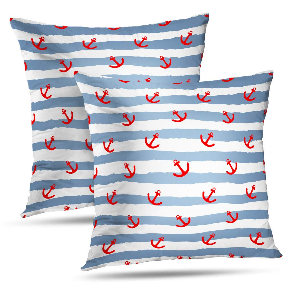 Soopat Decorative Pillow Cover Pack of 2, 18 x 18 Inch 2 Sides Printed Nautical Red Anchor Gray White Stripes Throw Pillow Cases Decorative Home Decor