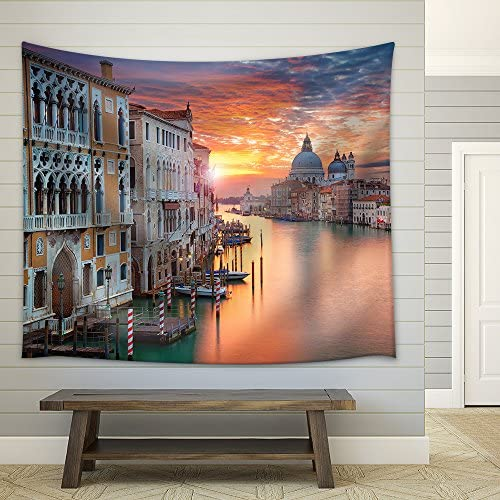 Venice Image of Grand Canal in Venice with Santa Maria Della Salute Basilica in The Background Fabric Wall