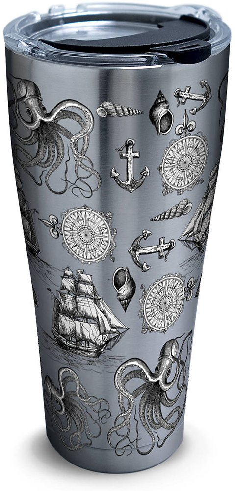 Tervis 1278000 Old Time Nautical Stainless Steel Tumbler with Clear and Black Hammer Lid 30oz, Silver