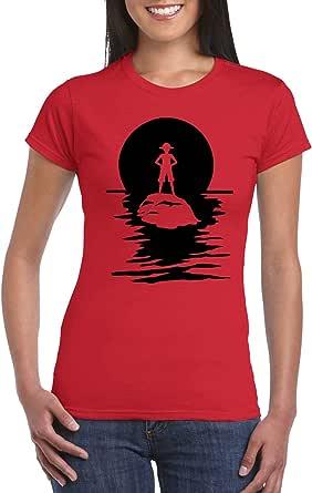 Red Female Gildan Short Sleeve T-Shirt - Luffy on Island - Black design