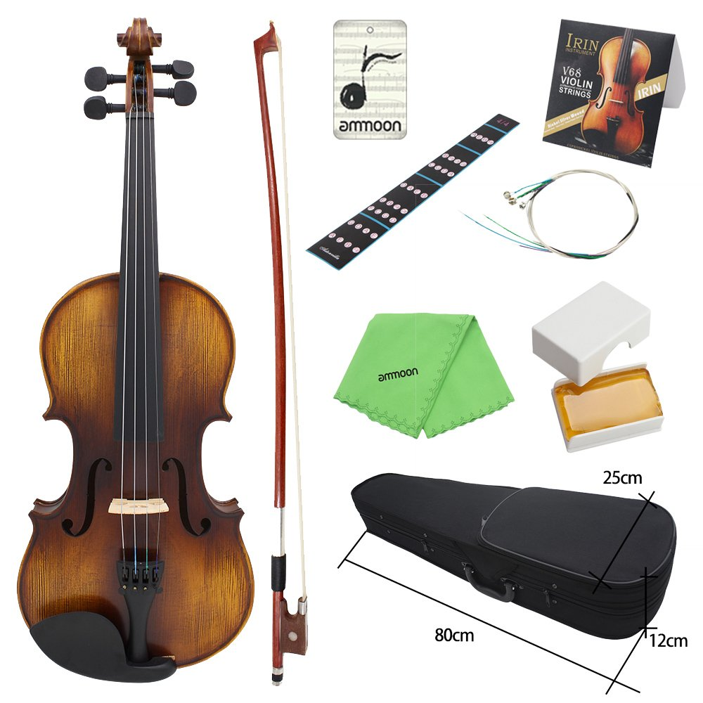 ammoon Acoustic Violin Fiddle 4/4 Full Size Kit Solid Wood Matte Finish Spruce Face Board 4-String Instrument with Hard Case Bow Rosin Clean Cloth Extra Strings Fingerboard Sticker 1