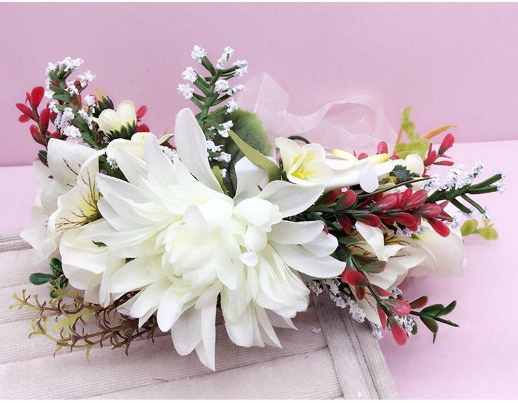 Wreath Flower, Headband Flower Garland Handmade Wedding Bride Party Ribbon Headband Wristband Hairband Blue/Red/White (Color : White) by Wreath