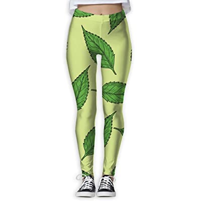 Womens Green Leaves New Fashion Workout Leggings Casual Tie Waist Yoga Workout Legging Pants Personalized Casual Pants For Women Home & Outdoor