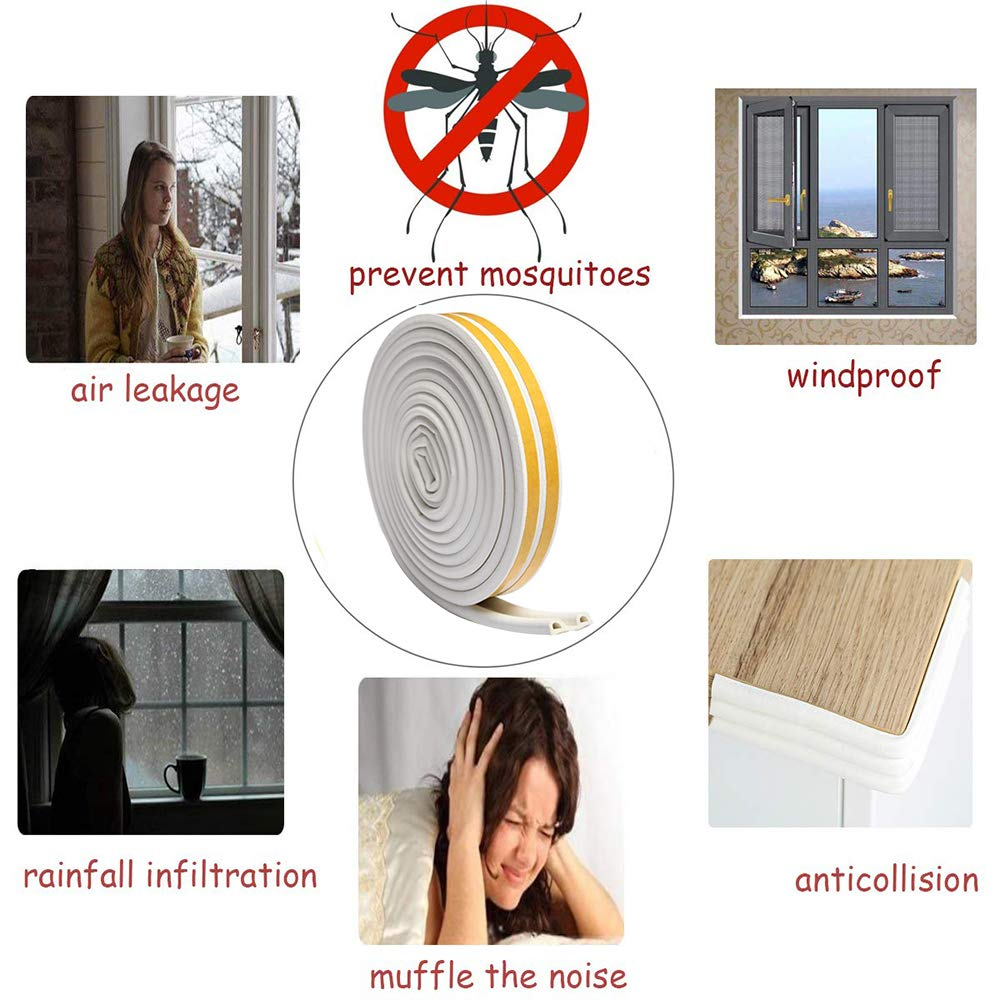 Window Door Draft Excluder Tape D Type Self-Adhesive EPDM Rubber Seal Foam Tape Foam Seal Strip Soundproofing Avoidance Rubber Weatherstrip 9mm X 6mm X 2.5 Meters