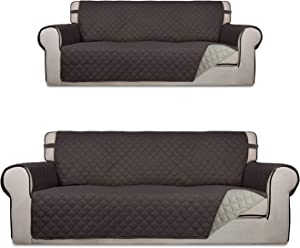 PureFit Sofa Oversized Sofa Cover Bundles Reversible Chocolate/Beige Couch Cover