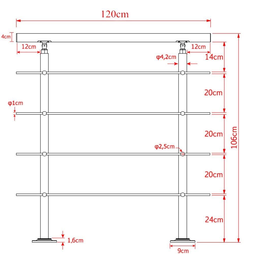 HENGMEI 100cm Treppengel/änder Edelstahl-Handlauf Gel/änder Gel/änderst/äben Terrassengel/änder Bausatz Treppen 100cm, 5 Querstreben
