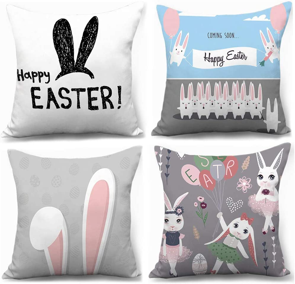 XIECCX Throw Pillow Covers 18x18 Set of 4 Outdoor Pillowcases Bunny Summer Home Decorative Pillows for Couch Sofa Bed Breathable Linen with Hidden Zipper(Easter Rabbit)