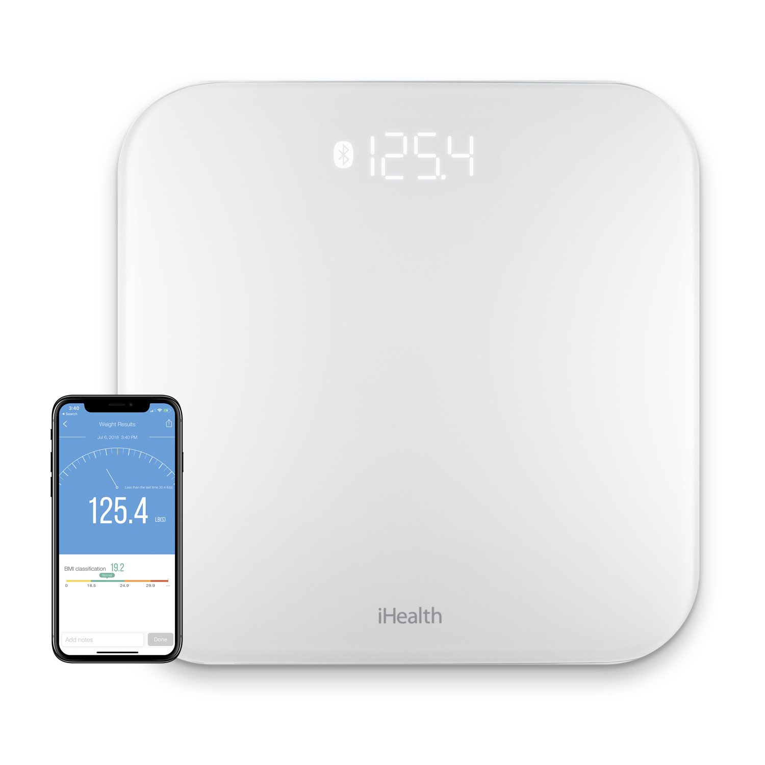 iHealth Lite Wireless Smart Scale for Apple and Android with Step-On Technology, 400 Pounds, Smart Weight & BMI Bluetooth Digital Scale with Smartphone App-Measures Weight & BMI for 20 Users