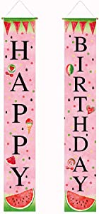Funnytree Summer Watermelon Theme Happy Birthday Party Porch Sign Baby Girls Kids Children Pink Outdoor Banner Yard Polyester Door Hanging Dessert Decor Windproof Home Events Backdrop Supplies 2pcs