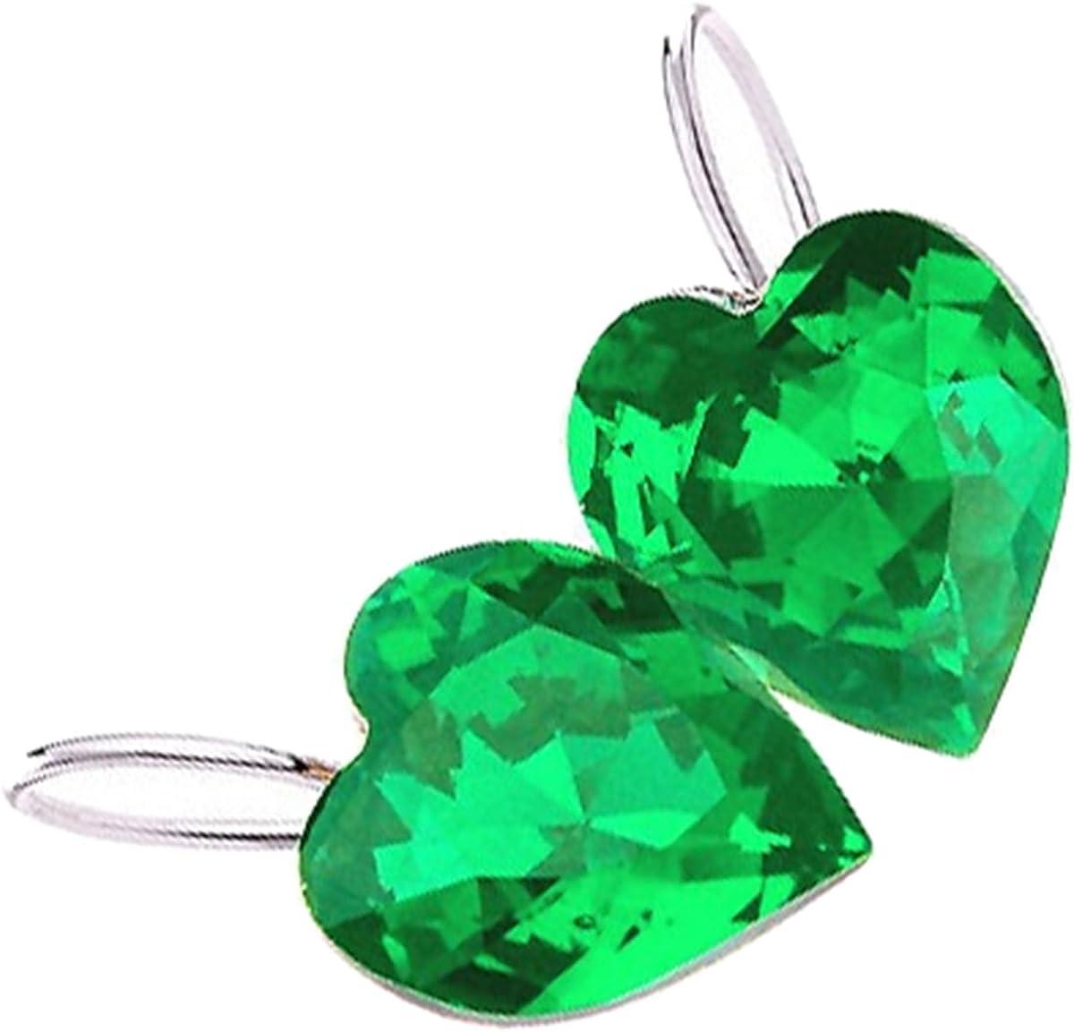 GWG Jewellery Pendientes Mujer Regalo Pendientes Colgantes, Chapados en Plata de Ley Cristal de Colores Varios en Forma de Corazón Clásico para Mujeres