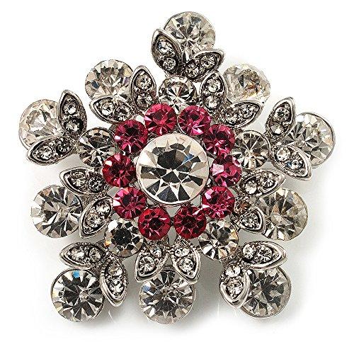 ar Brooch (Clear & Pink) (Swarovski Crystal Star Brooch)