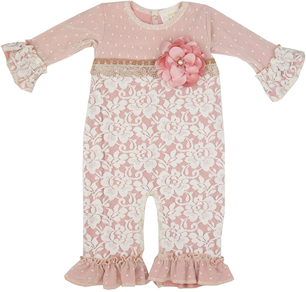 Haute Baby Infant Girls Boutique Coverall Romper  Misty Mauve