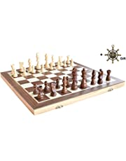 """Chess HOWADE 15"""" X 15"""" inch Wooden Chess Set Magnetic Foldable Board Game with Chessmen Storage Slots Unique Crafted Handmade Checkers Tournament Chess Game"""