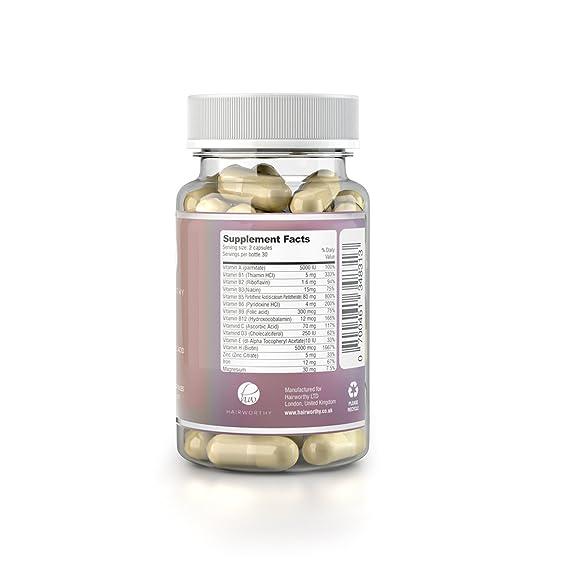 HAIRWORTHY - Crecimiento Natural del Pelo Vitaminas Veganas | Suplemento para Cabello más Largo, Fuerte y espeso | 5000 mcg Biotina | Multivitamínico para ...