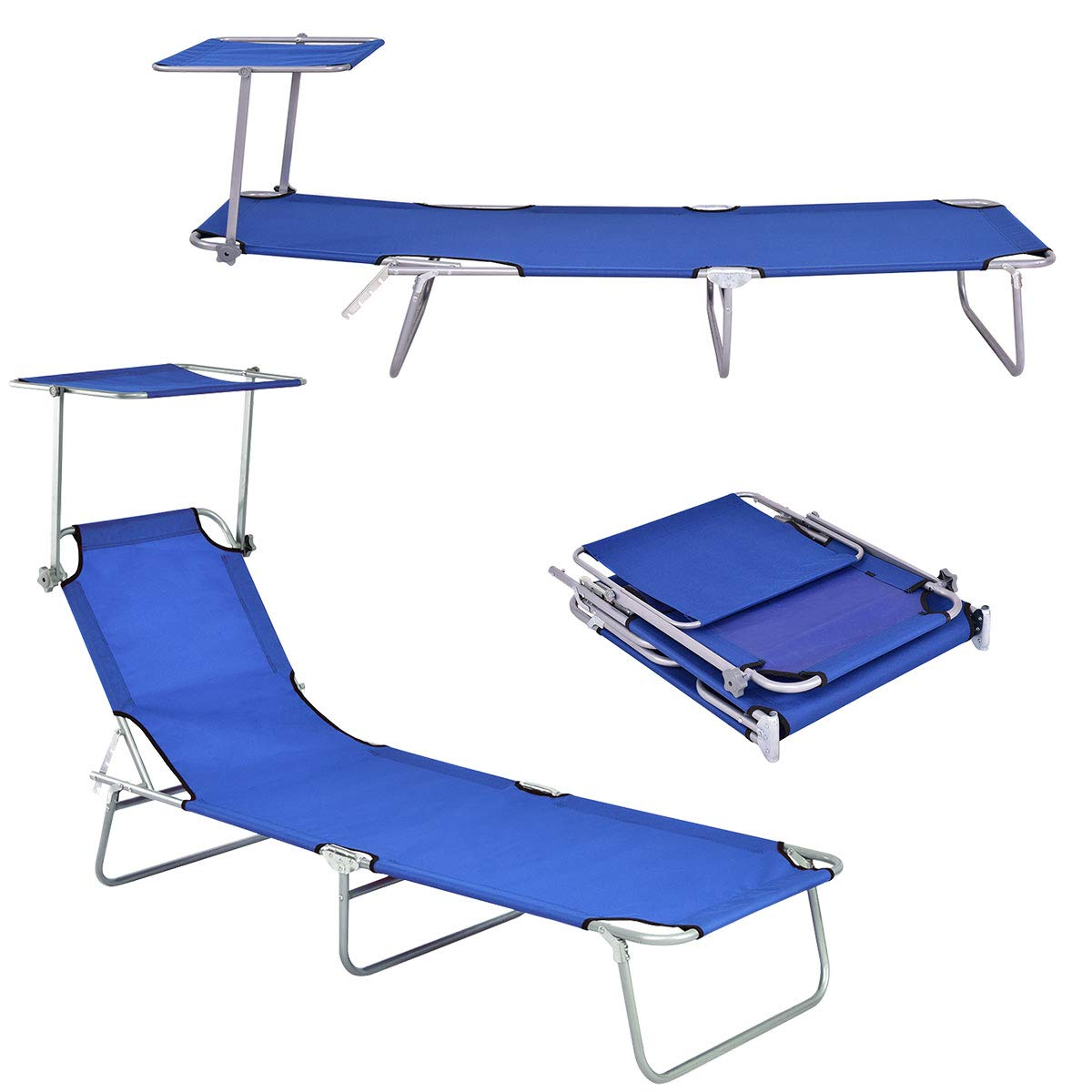 Giantex Lounge Chaise Foldable and Adjustable 5 Reclining Positions W Sun Shade for Garden Beach Patio Pool Seat Outdoor Portable Recliner Lounge Chair Navy