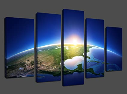ARTGOW 5 Panels Piece Modern Canvas Wall Art Space Earth Landscape Artwork  Giclee Canvas Prints Space