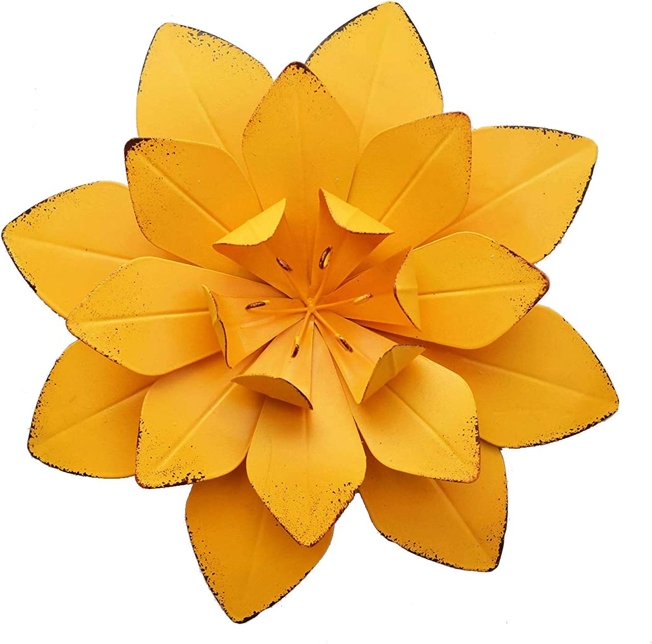 GIFTME 5 Yellow Metal Layered Flower Wall Decor for Bathroom Livingroom Garden Indoor or Outdoor Wall Sculptures(10X2 inch)
