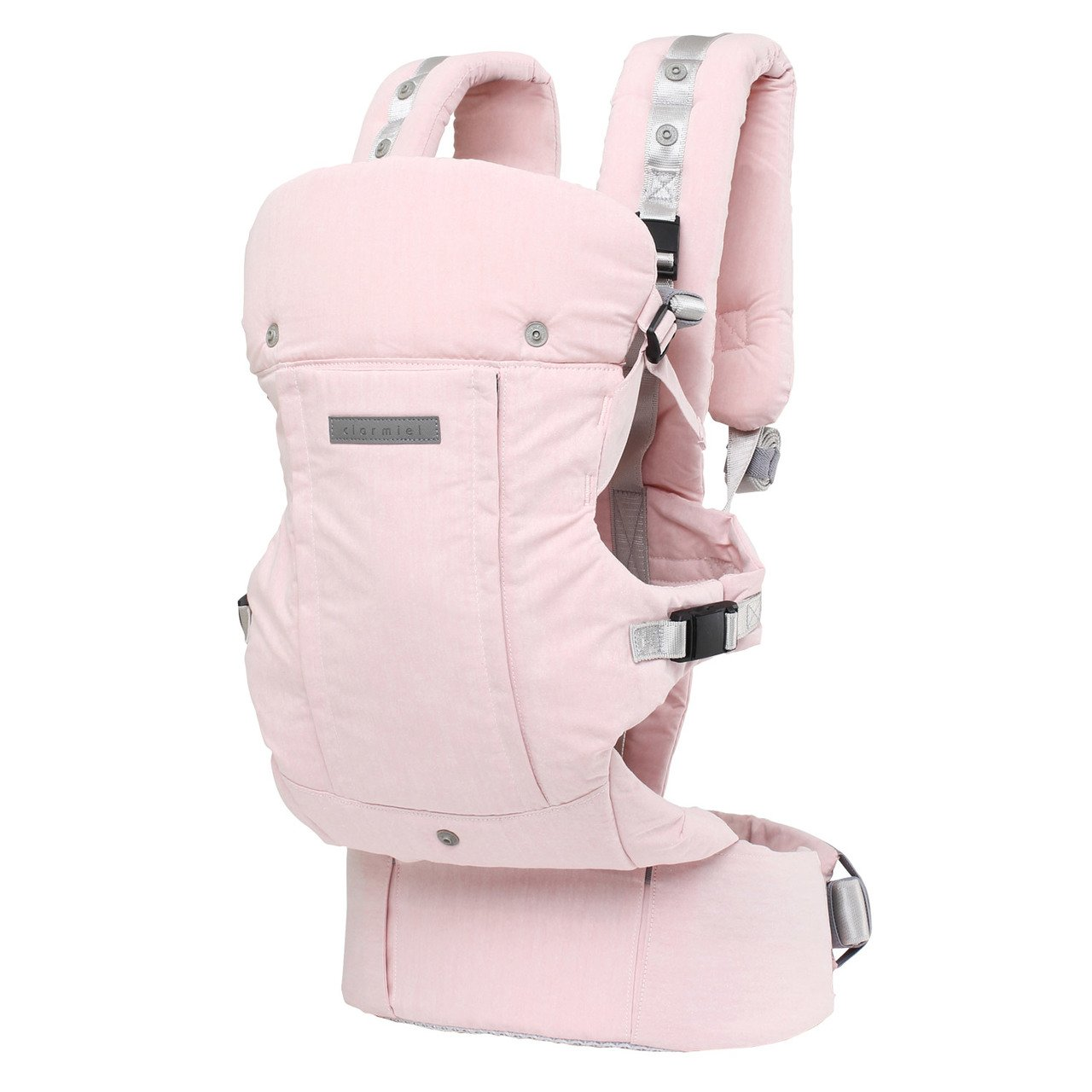 CLARMIEL One Touch Magnetic Baby and Toddler Carrier, Cool Comfort All Season Fabric, Multi-Position Ergonomic Design, Premium German-Made Magnetic Buckles Pink