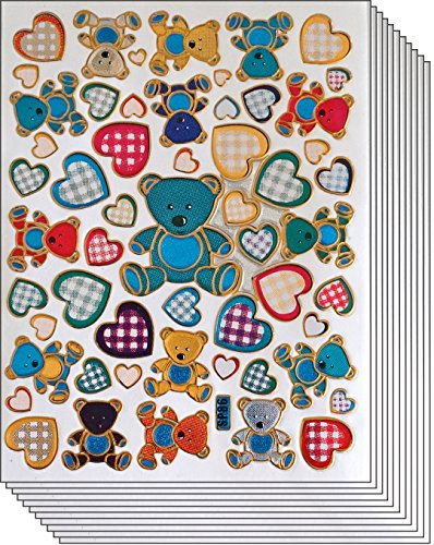 Price comparison product image Jazzstick 350 Glitter Teddy Bear & Heart Decal Sticker Value Pack 10 sheet 09A07