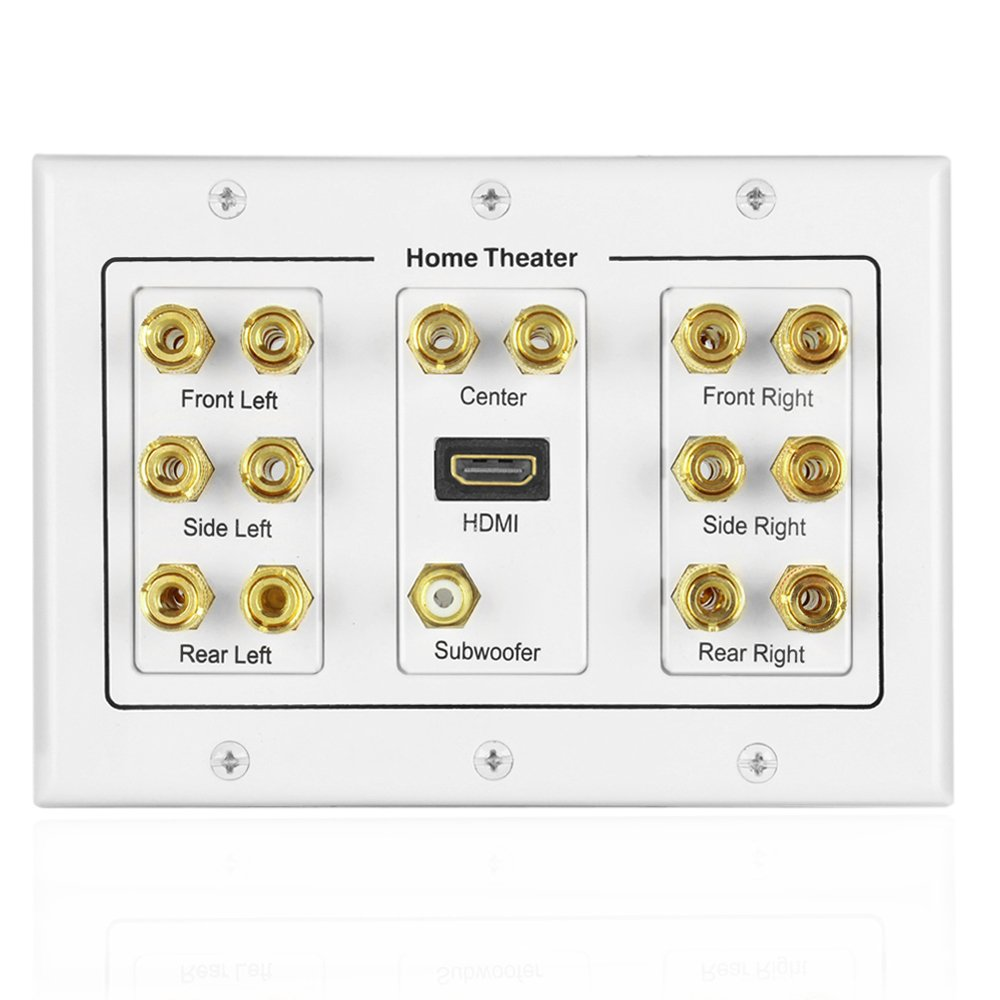 TNP Home Theater Speaker Wall Plate Outlet - 7.1 Surround Sound Audio Distribution Panel, Gold Plated Copper Banana Plug Binding Post Coupler, RCA LFE Jack for Subwoofer, HDMI Port UHD 4K HD (3-Gang)