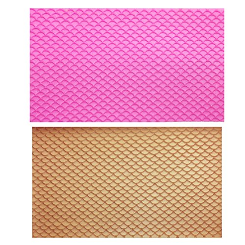 M0809 Lace Mat Mermaid Fish Scale Silicone Mold DIY Fondant Embosser snake Texture Cake Mold Decoration Gumpaste Mould