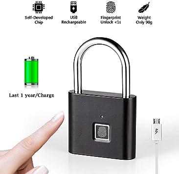 DYWLQ Cerradura segura para huellas dactilares inteligente para equipaje, puerta, mochila, maleta, bicicleta, gimnasio, oficina, 0.1s Desbloqueo sin llave Candado, soporte carga USB: Amazon.es: Bricolaje y herramientas