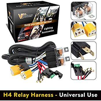 amazon com partsam h4 9003 headlight relay wiring harness kit high rh amazon com painless wiring headlight relay kit Headlight Wiring Diagram