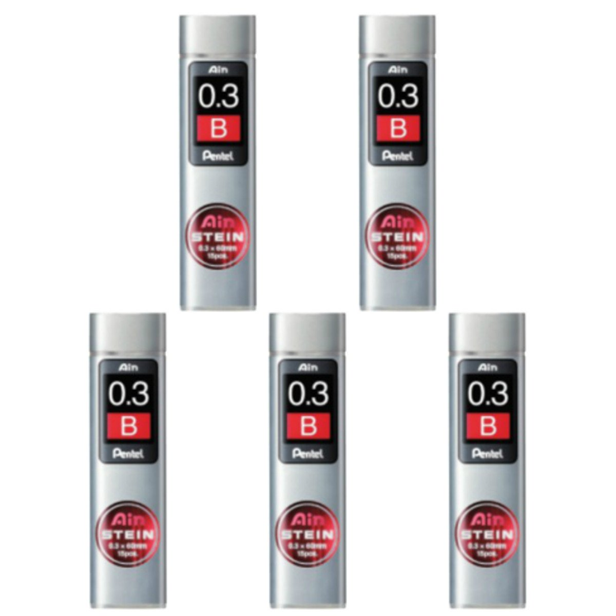 Pentel Ain Mechanical Pencil Leads 0.3mm B, 5 Pack/total 75 Leads Value Set