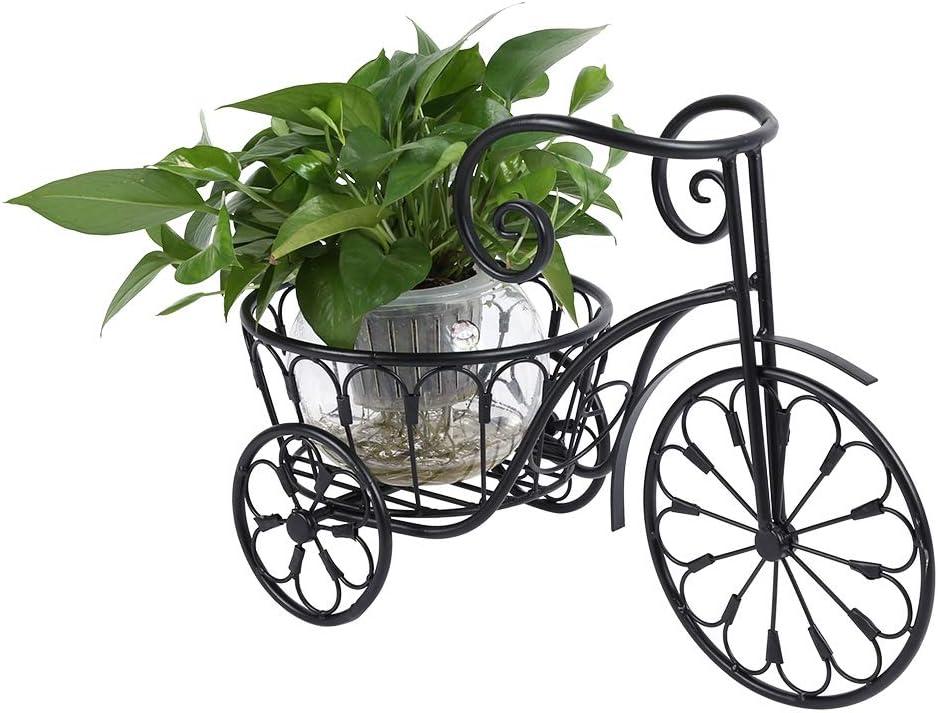Zerone. Estantería Moderno para Plantas de Hierro, Soporte para Macetas de Hierro con Diseño de Bicicleta para Decoración de Jardín Salón