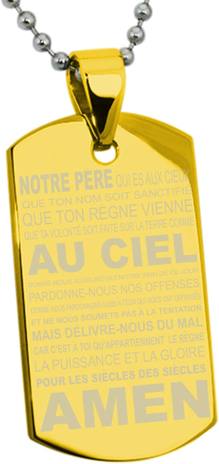 Or Hommes Collier Pendentif Dog Tag Force BIBLE VERSE Philippiens 4:13 prière