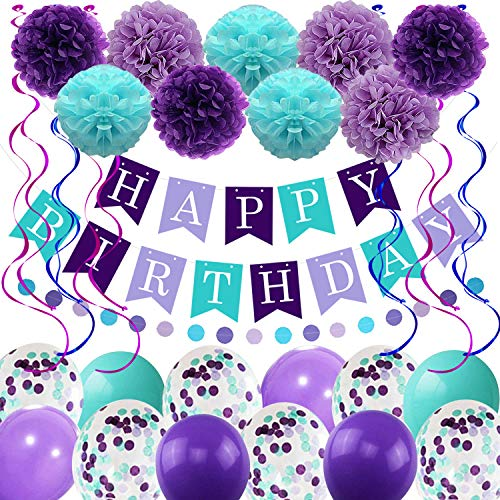 Themes For Little Girl Birthday Parties (Mermaid Birthday Balloons Decorations Girls Women Birthday Party Supplies Including Pom Poms Flowers Happy Birthday Banner Dots Garland Hanging Swirls and Balloons Purple Teal)