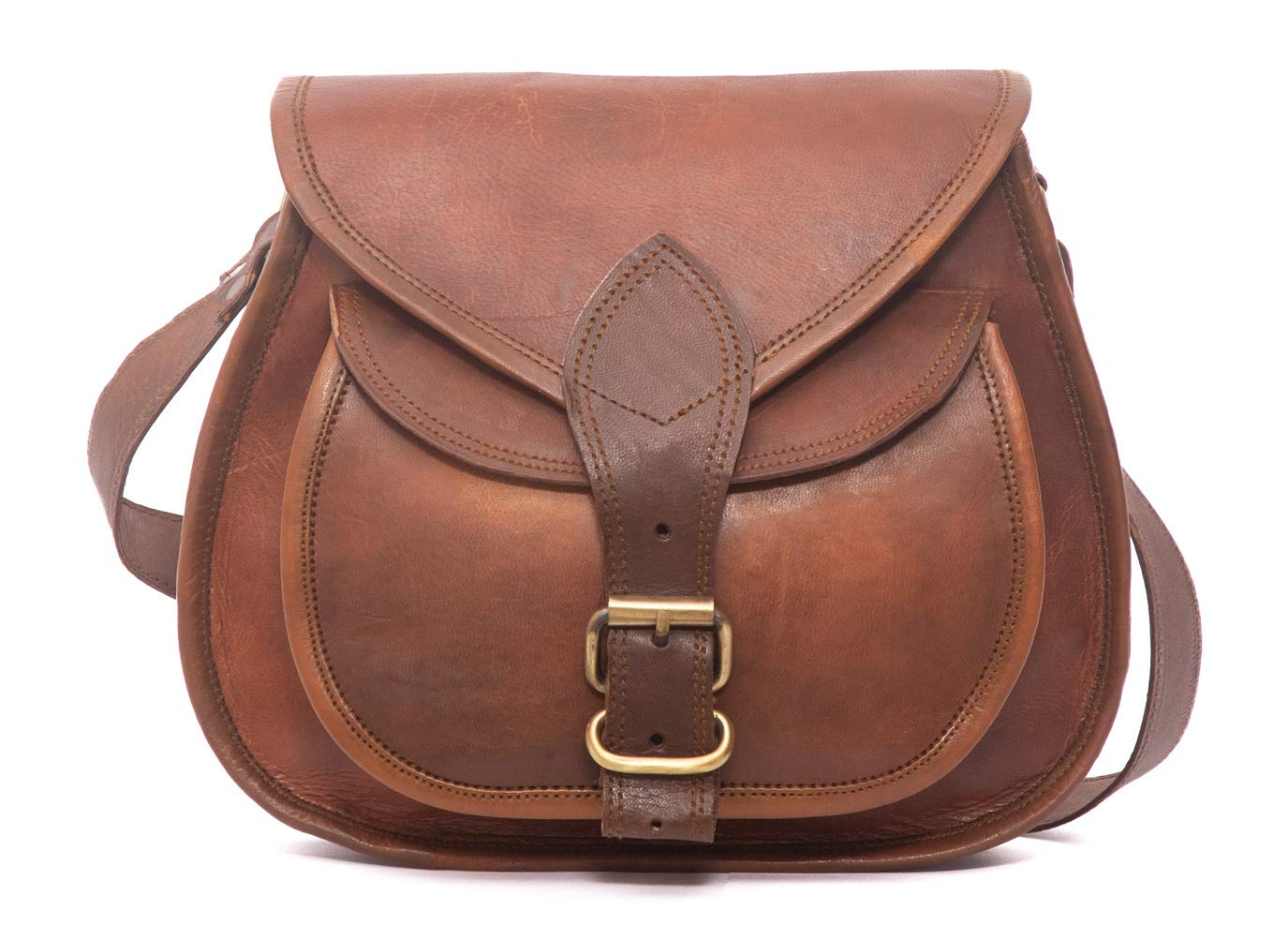 cecde2d337f Women s Handmade Leather Saddlebag Purse - Smart Green Canvas Lining and  Reinforced Hand-Stitching - 3 Compartments