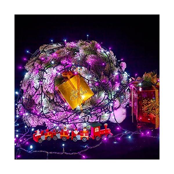 Catena Luminosa WISD Cavo Verde Scuro Stringa Luci Con 8 Modalità, Funzione Di Memoria, Bassa Tensione, Luci Natalizie Bicolori 13M 200 LED Luci Per Casa/Natale/Giardino/Feste (Rosa + Bianco) 4 spesavip