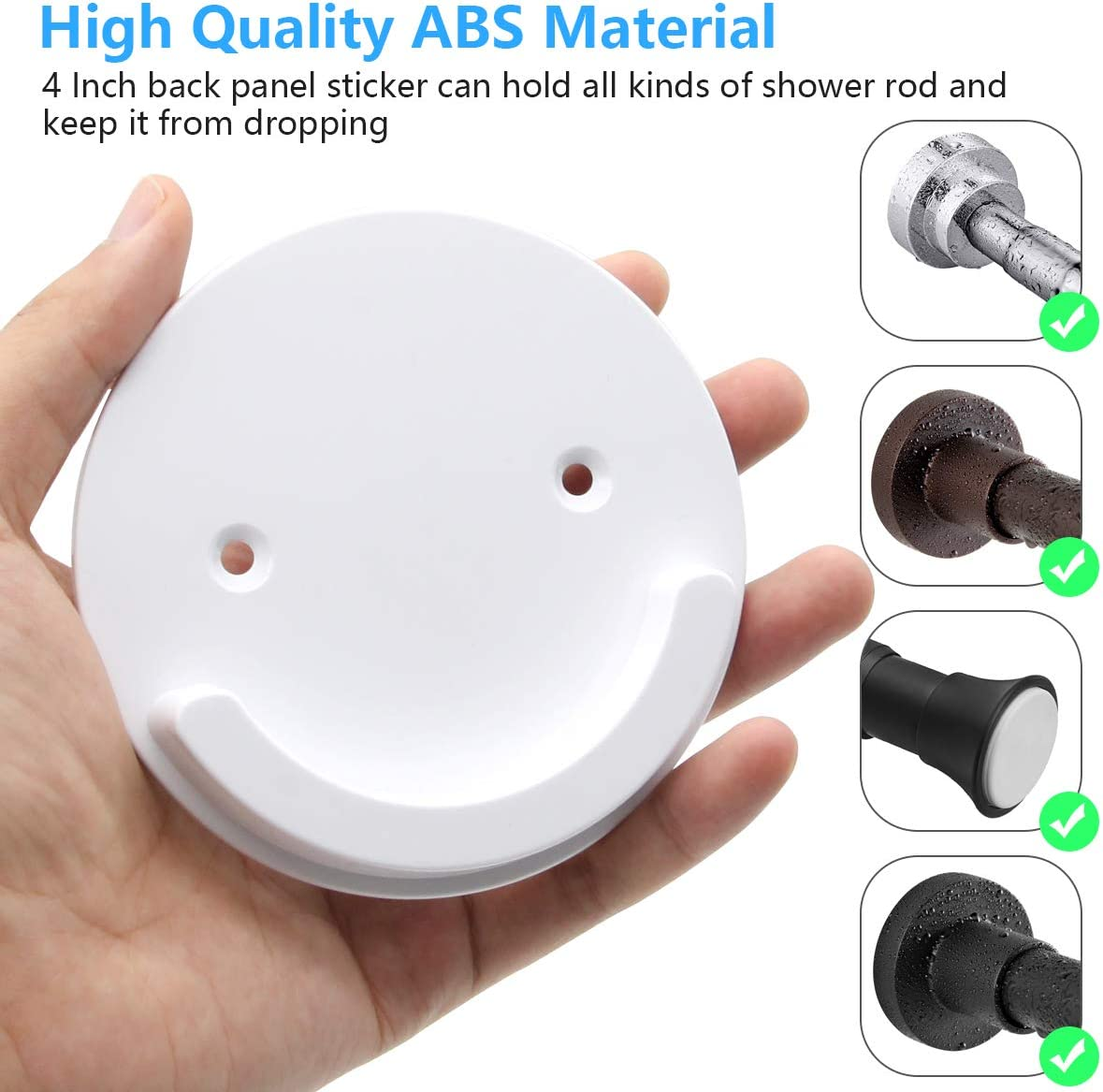 4 Inch Diameter Universal Acrylic 3M Adhesive Wall Mount Holder for Shower Curtain Rod Shower Curtain Rod Not Included FEATCH 2 Pack Shower Curtain Rod Mount Holder