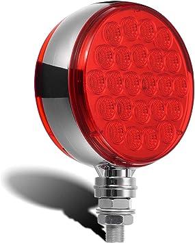 Partsam 4Pcs Round Clear Lens Double Face 48 LED Pedestal Fender Red Stop Turn Tail Brake Light//Amber Turn Signal and Parking Light Stud Mount for Kenworth Peterbilt Freightliner Volvo Trucks Semi