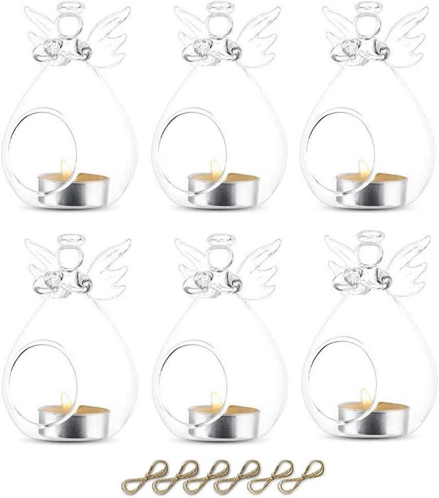 Sziqiqi 6 Piezas 80 mm para Colgar portavelas de Cristal terrario Boda portavelas candelabro, Vidrio, Transparente, Ángel