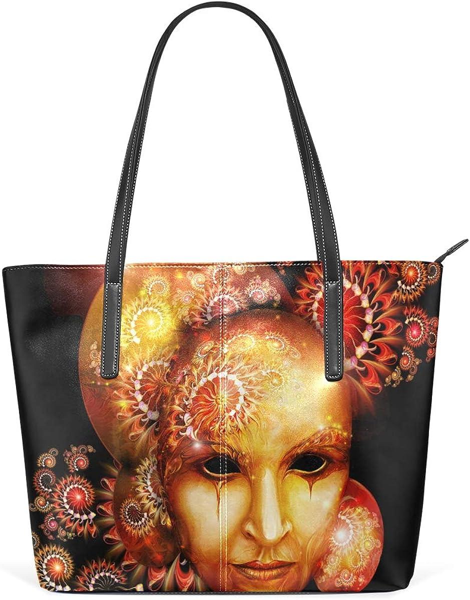 Mask Head Portrait PU Leather Tote Bag for Women Work Shopping School High-capacity PU Leather Handbag Shoulder Bag for Travel