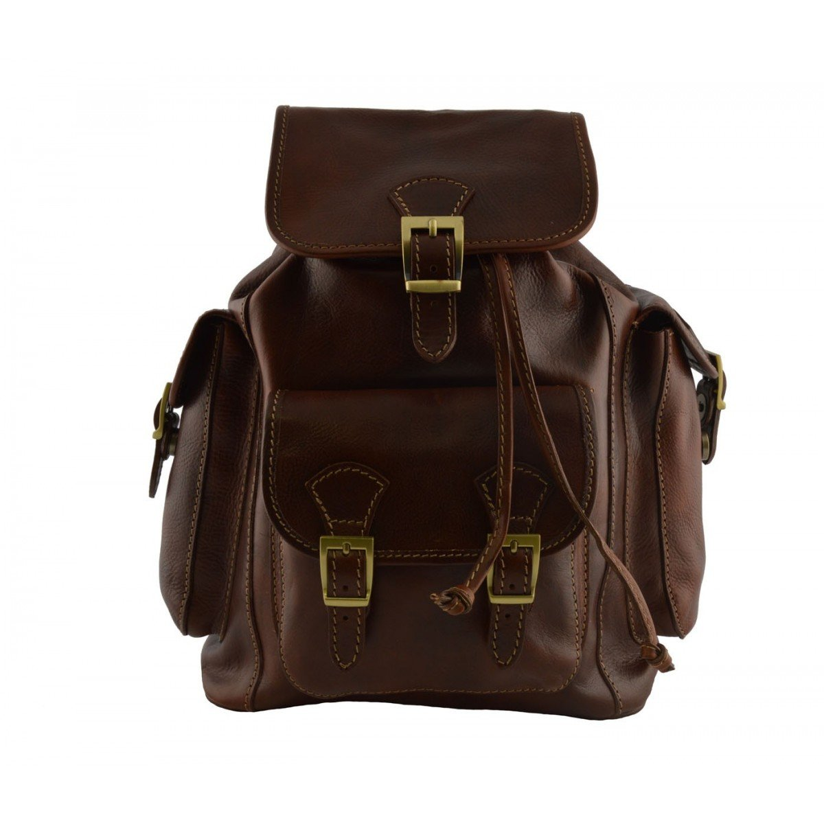 Made In Italy Leather Backpack Color Brown - Backpack B014W4DC40