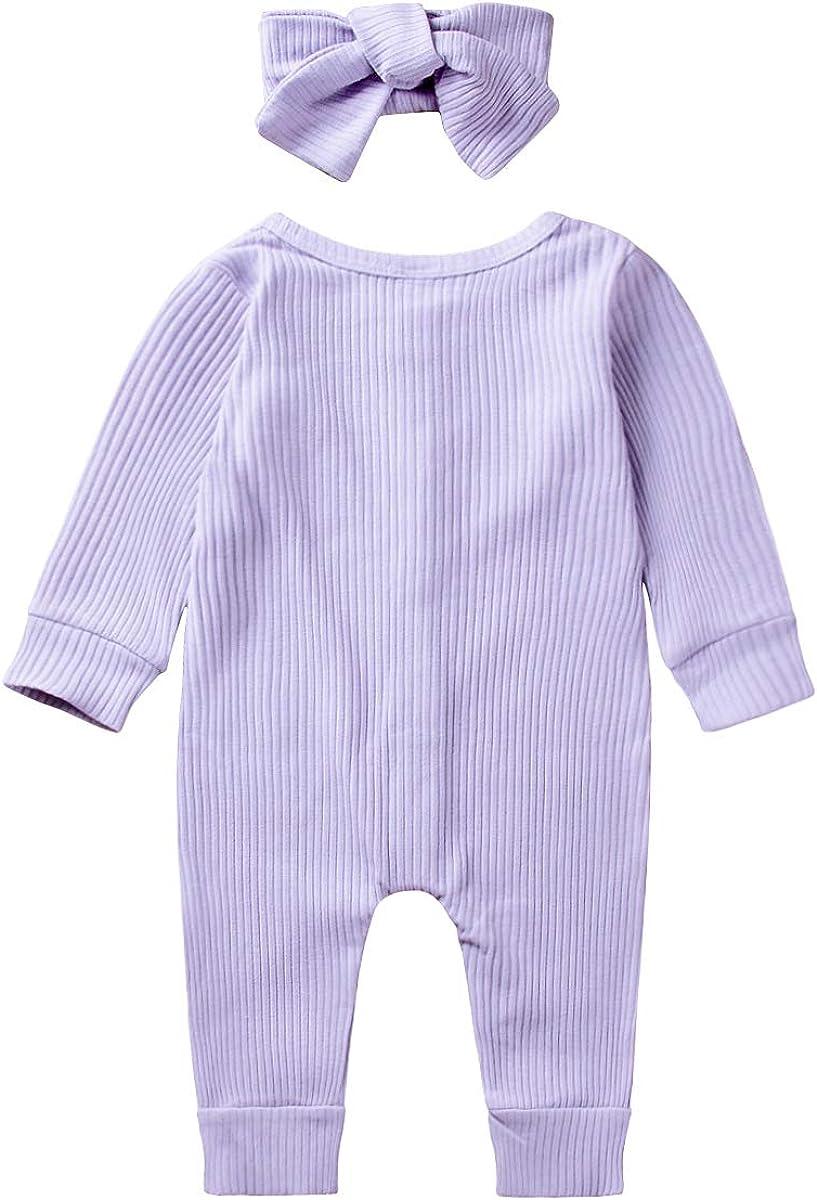 MetCuento Newborn Baby Boys Girls Romper Headband Solid Color Cotton One Piece Jumpsuit Onesie Bodysuit 0-18 Months