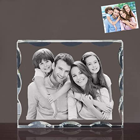 Qianruna 2D 3D Laser Crystal Photo Personalized Custom Beveled Crystal Glass Portrait Engraving Gifts,Best Gifts for Wedding and Anniversary Small