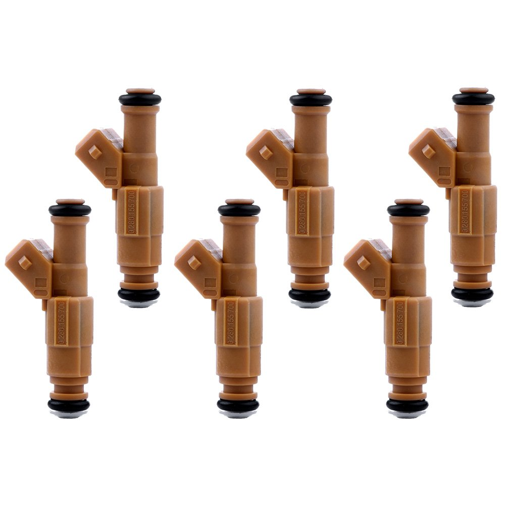 Fuel Injectors ECCPP 6pcs High Performance Yellow 4 Hole Fuel Injector Kit 0280155700 fit for 1989-1998 Jeep Cherokee 1987-1992 Jeep Comanche 1993-1998 Jeep Grand Cherokee 1991-1998 Jeep Wrangler 4.0L 105317-5211-1612339961