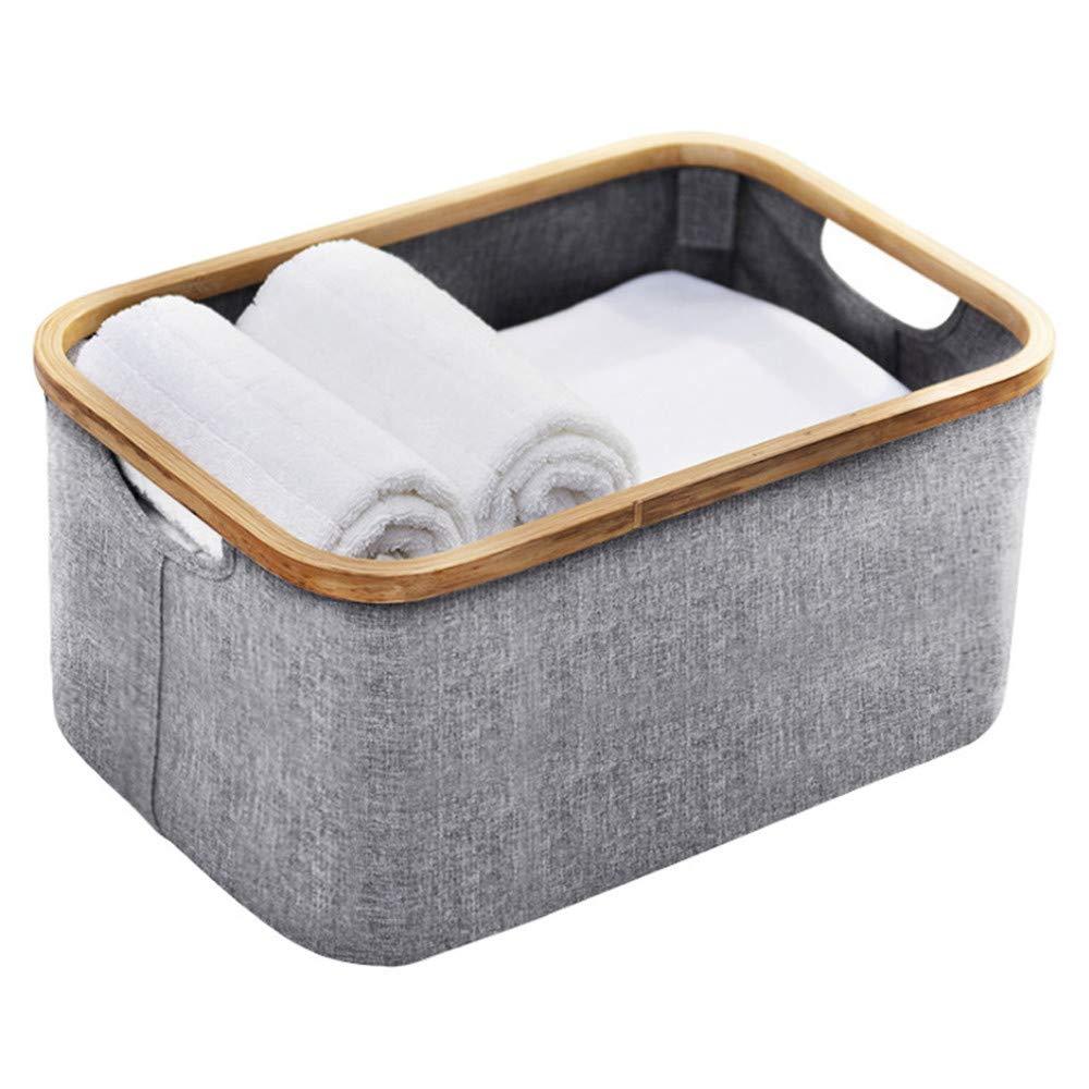 収納ボックス折り畳み収納ボックス竹+ポリエステル布製汚れた服収納ボックスグレー通気性無臭収納ボックス、寝室、クローゼット、おもちゃ、事務室、学生 B07TQMNJHJ