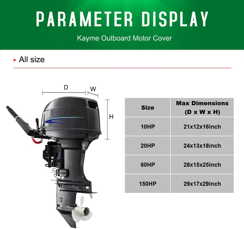 4 Layers Heavy Duty Motor Hood Cover Kayme Outboard Motor Cover Waterproof Sunproof from 10HP to 20HP L