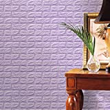 HOT SALE!Napoo PE Foam 3D Wallpaper DIY Wall Stickers Wall Decor Embossed Brick Stone For Household Room Kitchen Bathroom 60 X 60 X 0.8cm (Purple A)