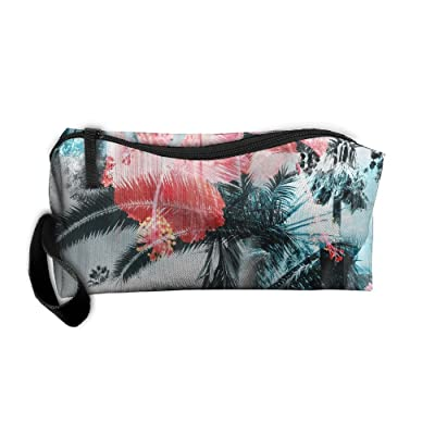 Tropical Palm Plantain Flowers Pattern Makeup Bag Printing Girl Women Travel Portable Cosmetic Bag Sewing Kit Stationery Bags Funny Storage Pouch Bag Multi-function Bag