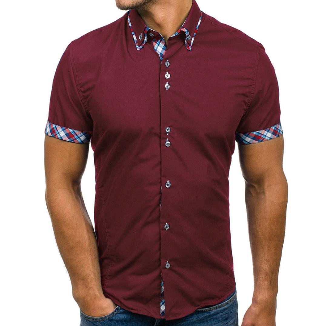ESAILQ Mens Blouse, Summer Double Collar Slim Patchwork Short Sleeved T-Shirt Tops Polo Shirt Men Short Sleeve Muscle fit White Custom Black Button up v-Neck Printing Hawaiian Gym Off to University