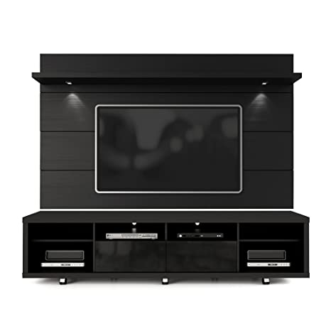 cheaper ad381 1d7d5 Manhattan Comfort Cabrini TV Stand and Floating Wall TV Panel with LED  Lights 2.2 in Black